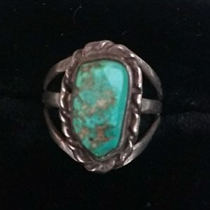 VINTAGE Native American 925 Silver Raw Turquoise
